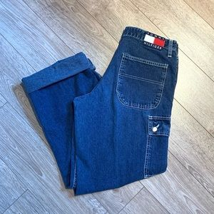 Vintage Tommy Jeans Cargo Button Blue Mom 28